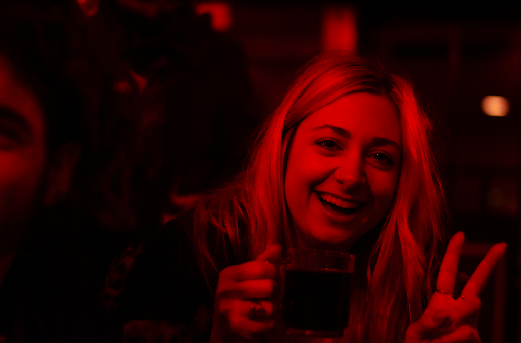 Nightlife Berlin Red Light Woman Blonde Peace Sign