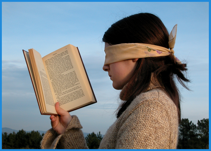woman blindfolded ad blindness facebook ads