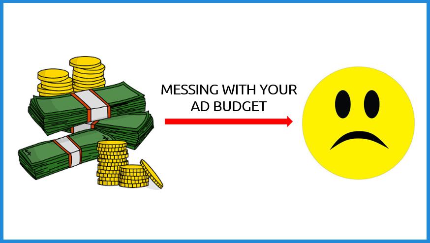 money arrow sad face ad budget