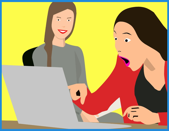 woman yellow background shocked laptop facebook ad